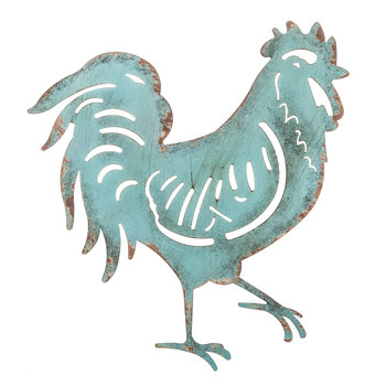 Turquoise Rooster Metal Wall Decor
